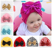 2018 sequin bow hats caps indians muslim baby beanie hats ba...