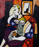 Famous Pablo Picasso - Woman with Book Hand Painted Wall Dec...
