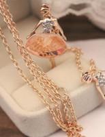 حار نمط كوريا جينغ جينغ شابة حب كبير الباليه فتاة قلادة الكريستال الماس سترة سلسلة الأزياء الكلاسيكية الحساسة