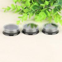 Pots en plastique ronds de 3g / 3ml avec couvercles transparents Base noire pour cosmétiques, lotion, crèmes, maquillage, perles, breloques, strass, accessoires