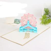Großhandelsart und weise 3d handgemachtes Riesenrad Origami Entwurfs-Laser schnitt Postkarte-Geburtstags-Valentinsgruß-Gruß-Karten