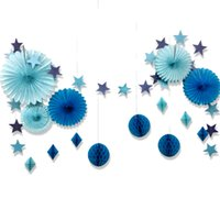 Set of 15 Blue Star Paper Garland Honeycomb Balls Tissue Pap...