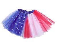 7월 Tutus 애국 독립 기념일의 어린이 발레 용 스커트 치마 미국 국기 투투 레이어 얇은 명주 그물 투투 스커트 4