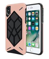 Nuevo dos en uno funda de teléfono celular de armadura de escudo térmico de fibra de carbono caja del teléfono celular para iPhone x 8 8plus 7 7plus 6 / 6S más Samsung S9 S9 plus