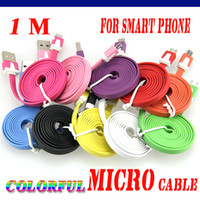 HTC 노키아 안드로이드 휴대폰에 대한 삼성 S3 S4 S5 S6의 경우 1M 3피트 다채로운 평면 국수 마이크로 USB 동기화 데이터 충전 케이블