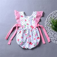 Newborn baby girl strawberry flower romper jumpsuit with rib...