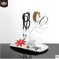 Exhibición de la joyería del árbol para los pendientes pulseras collares ornamentos de la cornamenta estante de almacenamiento estante blanco rosado negro mei rojo 23x25x15cm 549