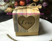 (120pcs / Lot) Love Heart Деревенской Свадебные конфет коробка для торта коробки и свадьбы пользы коробки и романтичных свадебных подарочных пакетов Easy Fold