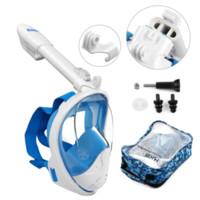Nuova maschera subacquea da 180 gradi Full Face Subacquea Scuba Anti Fog Snorkeling Nuoto Set con telecamera Scuba ad anello anti-scivolo