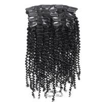 Evermagic Hair 7 Шт. / Компл. Бразильский Кудрявый Вьющийся Клип В Наращивание Волос 100% Девы Человеческих Волос Натуральный Цвет 120 г / комплект