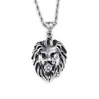 Männer 316L Titan Stahl Löwenkopf Anhänger Intarsien mit Diamant Coole Hip-Hop Gold Silber Tier Löwe Halskette Anhänger Für Männer Schmuck 60 cm
