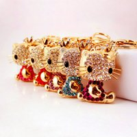 Lucky Smile Cat Crystal Rhinestone Keyrings Key Chains Holde...