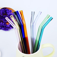 Colored Borosilicate Cocktail Glass Straws Length 18. 5cm Str...