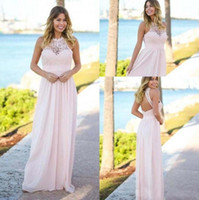 2018 A Line Pink Lace Chiffon Bridesmaid Dresses Halter Backless Long Summer Beach Garden Wedding Guest Prom Party Gowns Cheap