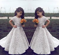 Flower Girl Dresses For Wedding Vintage Jewel Short Sleeves ...