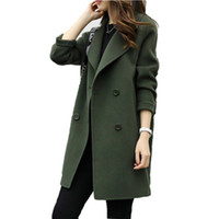 Female Double- breasted Overcoat Long Sleeve woolen Coats Tur...
