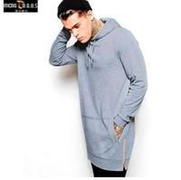 Yeni Varış Siyah Katı Polar Hip Hop Boy Erkekler Hoody Longline Moda Hoodies Tişörtü Erkekler Ücretsiz Kargo