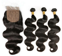 Silk Base Closure With 3 Bundles Body Wave Human Remy Hair B...