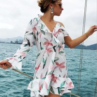 Fashion Women Summer Short Mini Dress V- neck Flower Printed ...