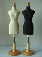 Groothandel 1pc houten manikin naaien sieraden vrouwelijke mannequin profiSal, 1: 2 schaal jersey, buste met knop houten, mini klein formaat.m0002020