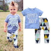MAMAS BOY Summer Baby clothing outfit Geometric Toddler clot...