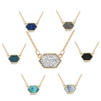 Rhombus Multicolour Natural Stone Necklace Gold Plated Lozen...