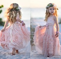 2018 new Beach Sweety Pink Flower Girls A Line Halter Backle...