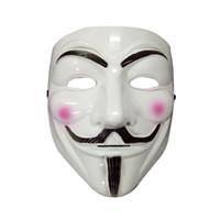 Maschere a forma di V per gli uomini Accessori di costume di Halloween Maschere di partito di Vendetta Maschera classica maschile Cosplay Mens Accessori di maschera gialla bianca