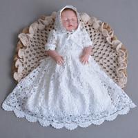 2018 nieuwe vintage peuter meisjes doop volledige jurk met hoed witte kant baby meisje verjaardag doopsel jurken jurken prinses kostuums