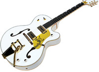 Factory White Semi- hollw Electric Guitar with GoldPickguard,...