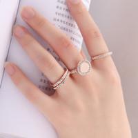 4 Unids / set Anillo Dedo del dedo del puño Anillos de diamantes de imitación de cristal de moda El mejor regalo del día de San Valentín para la joyería de las mujeres