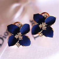 2018 new elegant noble blue flower ladies gold rhinestone earrings piercing Brinco women Wholesale free shipping