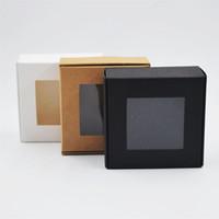 4 tamaños plegables negro Kraft caja de papel blanco con plástico PVC suministros de embalaje de regalo de la fiesta de pastel de hornear caja de dulces 100pcs