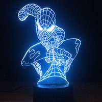 Spider Man 3D Optical Illusion Night Light - Lampe à changement de couleur à 7 DEL - Sans danger pour la lumière douce et douce pour les enfants - Solution pour les cauchemars
