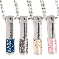Oli essenziali bottiglia di profumo di cristallo Normativa collana 316L Titanium Amanti Bottiglia diffusore del pendente del Locket possono essere aperti cavi pendenti
