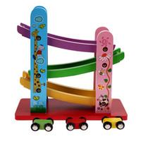 لعب اطفال خشبية ملونة سيارة زلق الخشب مع 4 هدايا عيد الميلاد سيارة صغيرة