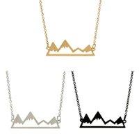 Carácter Valentine Montaña manera del collar de picos Collares Collares geométrica del paisaje de clavícula cadenas de plata collares plateados DHL