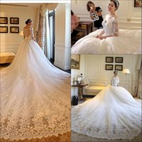 Gorgeous A- Line Wedding Dresses 2018 Half Long Sleeve Long T...