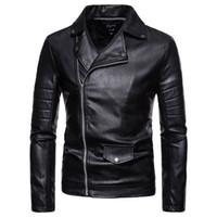 Uzun Kollu Bahar Sonbahar erkek Sonbahar Kış Rahat Fermuar Deri Ceket Uzun Kollu Gömlek Üst Bluz Drop Shipping
