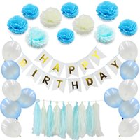 41pcs / set Buon compleanno Banner Tissue Palloncino Nappa Ghirlanda Party Decor