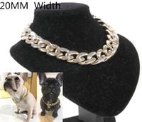 Ücretsiz kargo pet köpek kolye yaka altın gümüş 20 MM genişlik boğa köpek kolye 20 adet / grup