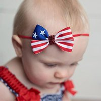 3' ' Kids Baby Girls Headbands Blue Star Red Stripe...