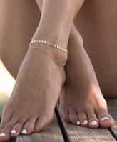 Halhal Gotik Pullu Püskül Ayak Bileği Bilezik 2 Katmanlı Altın Gümüş Ton Zincir Kadın Halhal Ayak Bileği Bilezik Ayak Takılar