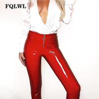 FQLWL Pvc PU Cuir Crayon Pantalon Femmes Taille Haute Zipper Casual Bodycon Pantalon 2018 Été Streetwear Pantalon Femme Leggings