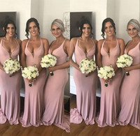 Charming Blush Pink Halter Neckline Bridesmaid Dresses Sweep...