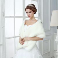 Elfenbein Winter Hochzeit Braut Faux Pelz Wraps Warme Tücher Oberbekleidung Frauen Jacken Für Abschlussball Abendparty Hohe Qualität Faux Pelz Hochzeit Wraps