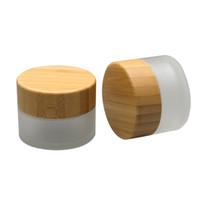 15g frascos de vidro fosco com tampa de bambu, 15 ml frascos de creme de vidro com tampas de bambu transporte rápido F244