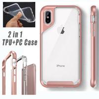 2 in 1 TPU + PC Cover trasparente trasparente per iPhone X XS Max Xr 8 7 6 6S plus Custodia protettiva ultra sottile