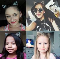 2018 Yeni Çocuklar Kedi Kulakları Kafa Kristal Saç Bandı Düğün Parti Festivali Saç Kadın Kızlar Taç Tiara Rhinestone Headbands