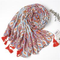 6 unids Patrón Geométrico Imprime Chales de Bufanda de Moda para Mujeres Chica Envuelve Verano Bufandas Playa Señora Chal